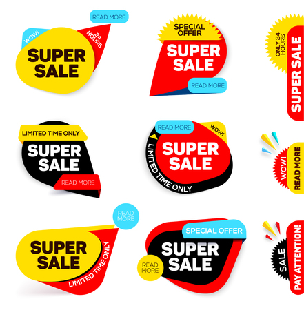 Super Sale banner. Sale and discounts. Special offer. Different Discount Offers, Vector Promotional design collection. Black friday sale. Shopping Banner. Vector illustration