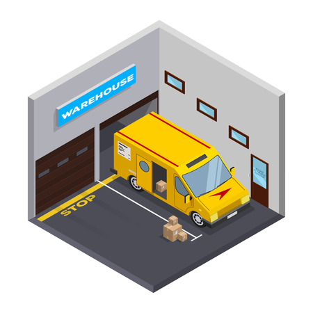 Isometric warehouse. Storage and truck. Flat isometric icon. isometric garage with truck. carton boxes. Vector illustration