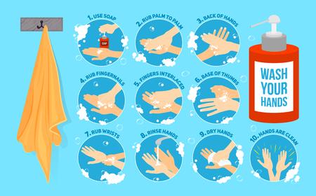 Zehn Schritte, wie Sie Ihre Hände zu waschen. Vektor-Infografik, Vektor-Illustration. Hände waschen medizinische Anweisungen. Seifenflasche und Handtuch. Flache Vektor-Icons.