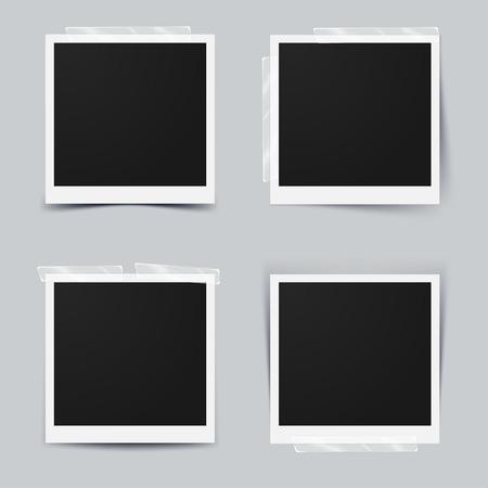 Klassische Retro-Stil. Set von Vektor-Vorlage Fotorahmen mit Klebeband, isoliert auf grauem Hintergrund. Design für Ihre Fotografie und Bild. Vektor-Illustration Standard-Bild - 66959532