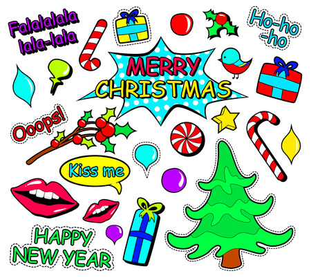 Set of of different Merry Christmas and new year stickers or magnets in Pop Art Comic Style. cartoon celebration elements in 80s, 90s comic style.Vector illustration. holidays sticker label.
