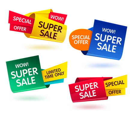 Super Sale banner set. special offer banner. Sale and discounts. Vector illustration Vettoriali