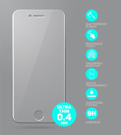 Scherm te beschermen Glass. Vector screen protector film of glas dekking geïsoleerd op een grijze achtergrond. Mobiele accessoires. vector illustratie