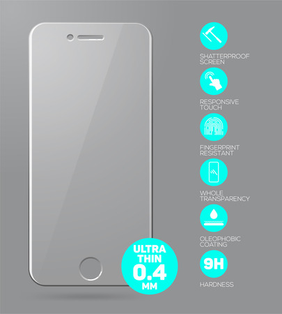 ultra modern: Screen protect Glass. Vector screen protector film or glass cover isolated on grey background. Mobile accessory. Vector illustration