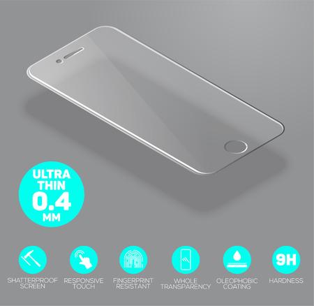 Écran protéger le verre. écran Vector film protecteur ou couvercle en verre isolé sur fond gris. accessoire mobile. Vector illustration