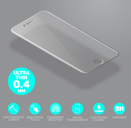 Screen protect Glass. Vector screen protector film or glass cover isolated on grey background. Mobile accessory. Vector illustration