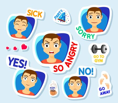 Collection of stickers for chat or sms. Stickers with man. Men with different facial expressions. cartoon funny stickers set. So angry, No, Yes, sick, Sorry, Vector