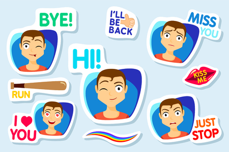 Collection of stickers for chat or sms. Stickers with man. Men with different facial expressions. cartoon funny stickers set. Bye, Hi, Miss you, I love you, Just stop, Vector