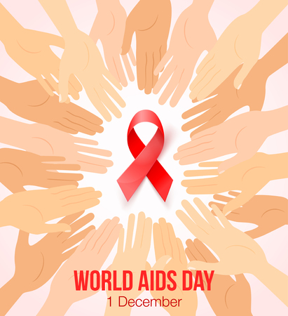 Worlds Aids day card 1 december. Hands joined in circle around red ribbon symbol. Realistic red ribbon, World Aids Day awareness symbol, isolated on white.