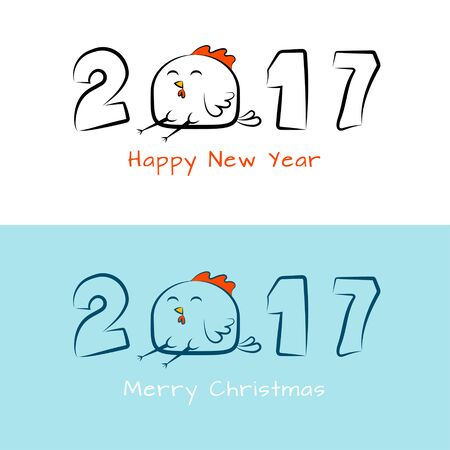 chinese new year card: New year`s banner with inscription 2017 with amusing rooster.  Design for cover calendar, cards new year 2017. Chinese New Year. Illustration