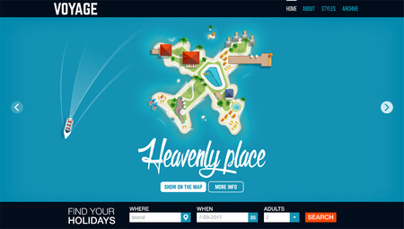heavenly: Top view of the island in the form of a aircraft. Concept  website header template. Time to travel and vacations banner. Holiday trip. Travel and tourism. Heavenly place Illustration