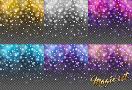 Magic set of glitter particles isolated on transparent background. Rain glitter particles. Falling Christmas Shining. Snowflakes, snowfall. Sparkling texture. Star dust sparks. Vector illustration Vettoriali