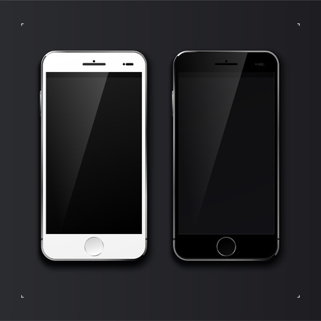 Two smartphone white and black. Isolated on black background. Vector illustration