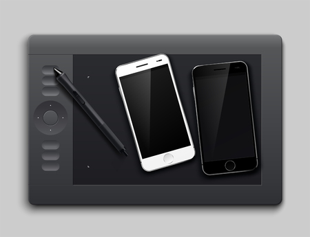 Graphic Tablet and two smartphone white and black. Isolated on gray background. Vector illustration Ilustração