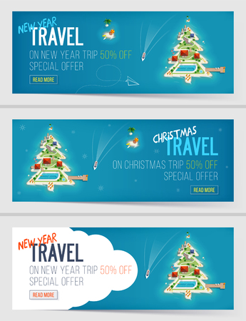 Three New Year and Christmas Vacation Holiday banners. Island in the form of a Christmas tree. Top view of the island. Special offer, Holiday trip. sale and discount. Travel and tourism. Vettoriali