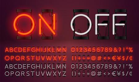 Groot neon ingesteld gloeiend alfabet, vector lettertype. Gloeiend teksteffect. Aan en uit lampje. Neonnummers en leestekens. geïsoleerd op rode achtergrond. Stock Illustratie