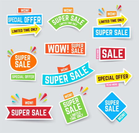 Set of super sale banner for attracting attention. Sale and discounts layout. Vector illustration.