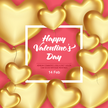 Card with frame and Gold hearts on Valentines Day. Be my Valentine card concept.   Empty space for your text. Vector illustration.