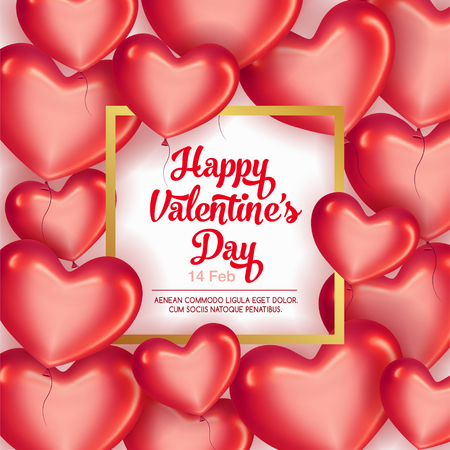 Card with frame and Red hearts on Valentines Day. Be my Valentine card concept.   Empty space for your text. Vector illustration. Illustration
