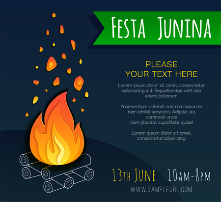 Festa junina poster with bonfire. Vector banner. Latin American holiday. Brazil Festival  イラスト・ベクター素材