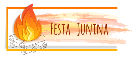 Festa junina banner with watercolor and paper bonfire. Vector banner. Latin American holiday. Brazil Festival