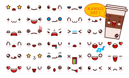 Set of cute kawaii emoticon face and sweet coffee kawaii. Collection emoticon manga, cartoon style. Vector illustration. Adorable characters icons design Vettoriali