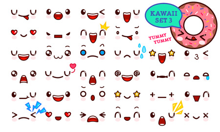 Set of cute kawaii emoticon face and sweet donut kawaii. Collection emoticon manga, cartoon style. Vector illustration. Adorable characters icons design