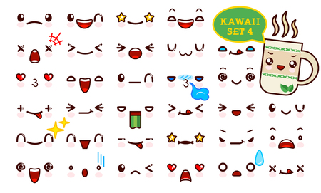 Set of cute kawaii emoticon face and sweet tea kawaii. Collection emoticon manga, cartoon style. Vector illustration. Adorable characters icons design