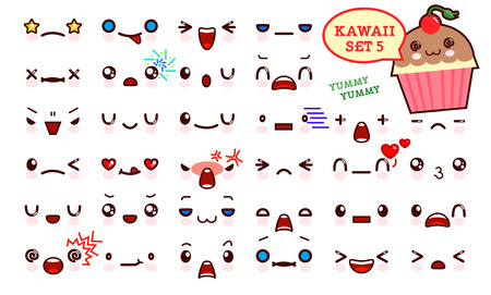 Set of cute kawaii emoticon face and sweet cake kawaii. Collection emoticon manga, cartoon style. Vector illustration. Adorable characters icons design Illustration