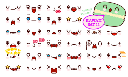 Set of cute emoticon face and sweet macaron. Collection emoticon manga, cartoon style. Vector illustration. Adorable characters icons design