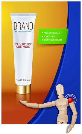 balm: Pain relief ointment vertical banner with realistic design blank white cosmetic tube pack Of Cream Or Gel. Wooden mannequin. Vector illustration Illustration