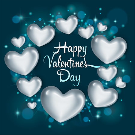 Elegant greeting card with glossy silver hearts. Happy Valentines Day celebration. Vector illustration Illustration