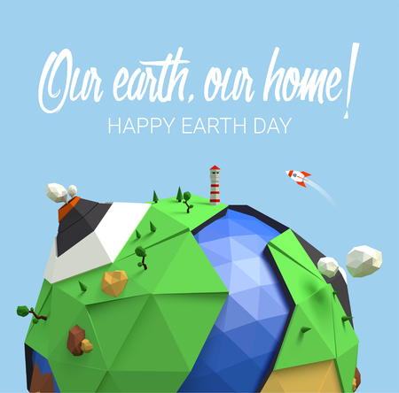 Happy Earth Day poster. Vector low poly earth. Polygonal globe icon. Vector Illustration