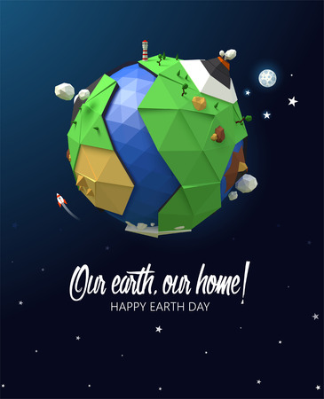 Happy Earth Day poster. Vector low poly earth. Polygonal globe icon.