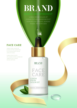 Cosmetic ads template, Moisture essence based Green tea. Skin care cosmetic essence, Vector illustration for cosmetic ads or magazine.