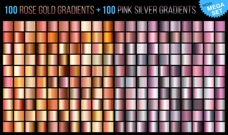 A Vector mega set of 100 rose gold and 100 pink silver gradients. Trends color background texture. Mega collection metallic and golden gradient illustration for fashion design.