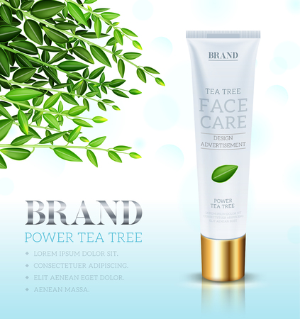 grooming: Cosmetic cream ads template, Face care cream based Tea tree. Makeup tube template. Vector illustration for cosmetic ads or magazine.