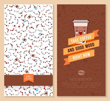 Two sided brochure, flyer for coffee shop. funny tickets design with emotion pattern and sweet cup of coffee illustration.