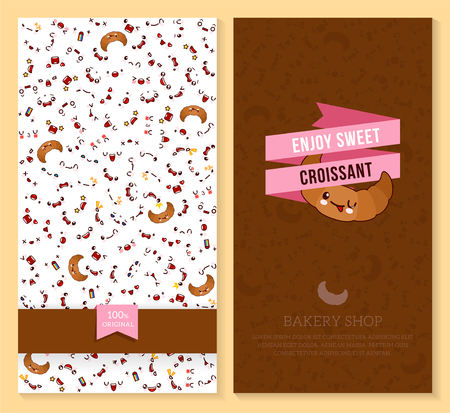 Two sided brochure, flyer for bakery shop. funny tickets design with emotion pattern and sweet croissant illustration.