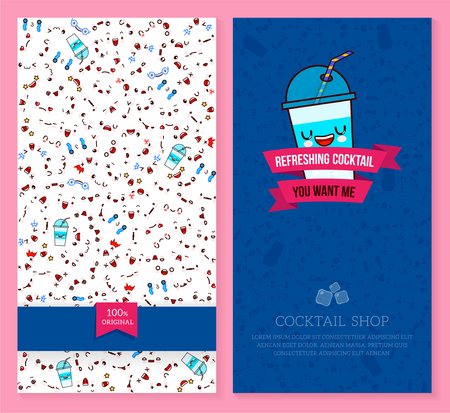 Two sided brochure, flyer for cocktail shop. funny tickets design with emotion pattern and sweet cocktail. Vector illustration.