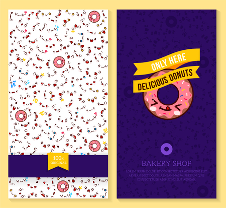 Two sided brochure, flyer for bakery shop. funny tickets design with emotion pattern and sweet donut. illustration. Illustration