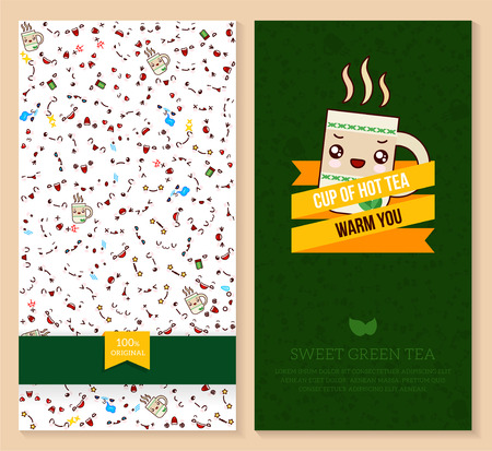 Kawaii two sided brochure, flyer for fast food. funny tickets design with emotion pattern and sweet green tea with mint. Vector illustration.
