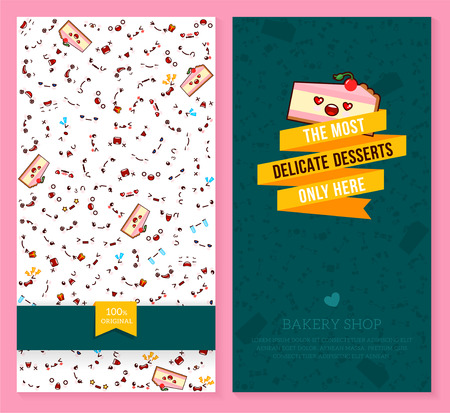 A Kawaii two sided brochure, flyer for bakery shop. Funny tickets design with emotion pattern and sweet piece of cake. Vector illustration.