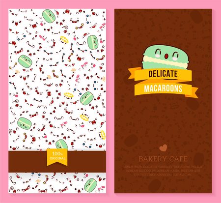 A Kawaii two sided brochure, flyer for bakery cafe with funny tickets design with emotion pattern and sweet macaroon. Vector illustration. Illustration
