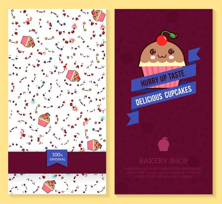 A Kawaii two sided brochure, flyer for bakery shop funny tickets design with emotion pattern and sweet cupcakes. Vector illustration. Illustration