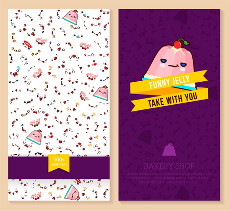 A Kawaii two sided brochure, flyer for bakery shop funny tickets design with emotion pattern and sweet jelly. Vector illustration.
