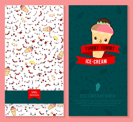 Kawaii two sided brochure, flyer for ice-cream shop. funny tickets design with emotion pattern and  sweet ice cream. Vector illustration.