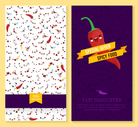 A Kawaii two sided brochure, flyer for fast food, funny tickets design with emotion pattern and chili pepper. Vector illustration.