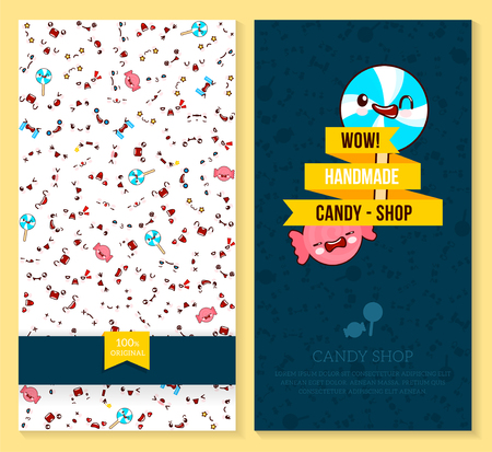 a Kawaii two sided brochure, flyer for candy shop, funny tickets design with emotion pattern and sweet candy. Vector illustration.