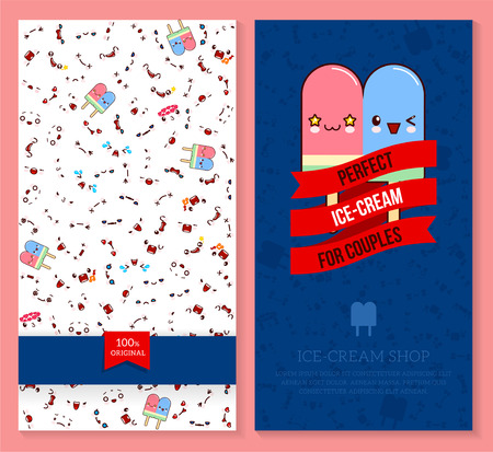 A Kawaii two sided brochure, flyer for ice-cream shop, funny tickets design with emotion pattern and sweet couple ice cream. Vector illustration.